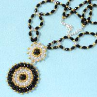 Free Tutorial on Making a Noble and Refined Big Pendent Necklace with Glass Beads and Seed Beads