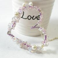 Pandahall Tutorial on How to Make a Purple Heart Pendent Necklace with Beads and Wire