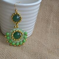 How do You Make Gold and Green Round Drop Earrings with Gemstone Beads