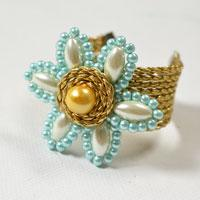 How to Make a Flower Bangle Cuff Bracelet with Pearls and Leather Cords at Home