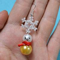 Christmas Jewelry Idea – How to Make Snowman Earrings with Seed Bead Snowflake Pattern