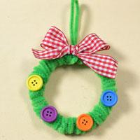Cute Christmas Door Decoration Ideas on Making a Green Chenille Stems Wreath with Buttons Dotted