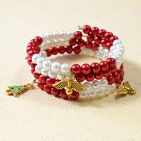 How to Make a Simple Red and White Pearl Beaded Bracelet with Christmas Tree and Angels