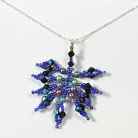How to Make a Navy Blue Leaf Pendant Necklace with Beads and Chains