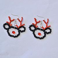Beaded Christmas Earrings Free Pattern – Black and Red Beaded Elk Earrings DIY