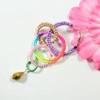 How to Make a Pair of Colorful Woven Thread Earrings in an Easy Way