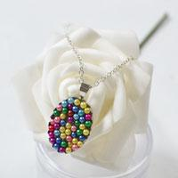 How to Make a Colorful Pearl Pendant Necklace with Silver Chain at Home