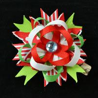 Hair Accessories for Christmas DIY on a Red and Green Ribbon Flower Hair Clip