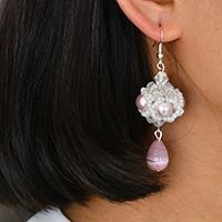 How to Make a Pair of Small Pink Beaded Ball Dangling Earrings