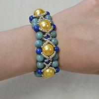 How Do You Make a Yellow and Blue Bracelet with Jade Beads, Pearls and Seed Beads