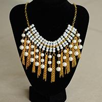 How to Make a Gold Chain Necklace with Chain Tassels and Pearl Dangles