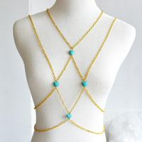 how to make your own golden chain and turquoise bead body