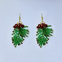 How to Make a Pair of Green Seed Beaded Earrings for Christmas