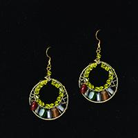 How to Make a Pair of Yellow Hoop Earrings with Wires and Beads