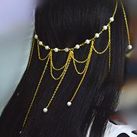 Easy Fashion Golden Chain Headpiece Design for Girls