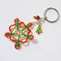 How to Make Handmade Key Chains with Seed Bead Snowflake Pattern for Christmas