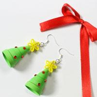 How to Make Red and Green Paper Quilling Christmas Tree Earrings Quickly