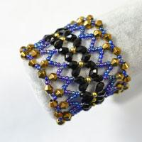 How to Make a Wide Golden, Blue and Black Bead Stitch Bracelet