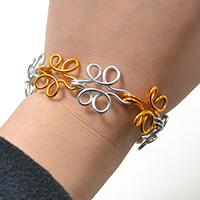 Easy Silver and Golden Wire Wrapping Flower Bracelet Tutorial