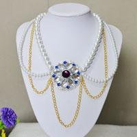 How to Make a Muti-Strand White Pearl and Golden Chain Necklace