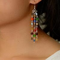 How to Make Beading Drop Earrings Combined with Colorful Cube Glass Beads and Eye Pins