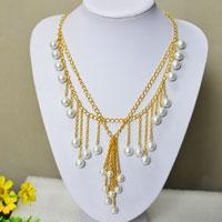 How to Make a Double Strand Gold Chain Necklace with Tassels and Pearl Dangles