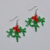 How to Make Christmas Beaded Earrings with Green and Red Glass Beads