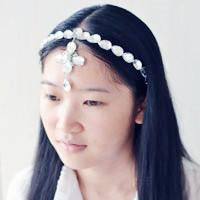 How to Make a Cute White Beaded Headband with Cross Drop Pendant