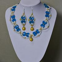 How to Make a Blue and White Beaded Bridal Necklace and Earrings Set