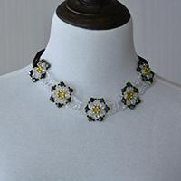 How to Make a Charming Glass Beaded Flower Statement Necklace with Ribbon Strand