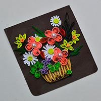 How to Make a Beautiful Quilling Paper Flower Basket for Cards Step by Step