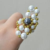 Pandahall Tutorial - How to Make a Pearl Bead Stitch Ring for Girls