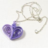 How to Make a Purple Quilling Paper Heart Pendant Necklace for Girls