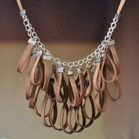 How to Make Women's Chain Necklace with Leather Pendants
