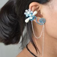 How to Make Blue Wire Wrapped Earrings with Cuff and Chain Design