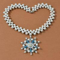 Detailed Steps on Making a Blue and White Snowflake Large Pendent Necklace for Wedding