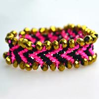 How do You Make Braided Chevron Friendship Bracelet with Golden Bicone Beads