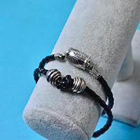 Valentine's Day Gift Ideas – Cool Black Leather Cord Bracelet for Men