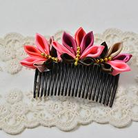 Pandahall Tutorial on How to Make Japanese Flower Hair Comb with Satin Ribbons