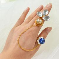 How to Make Personalized Wire Wrapped Rhinestone Rings with Gold Chain Linked