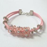 How to Make a Pink Leather Bracelet with Glass Beaded Ball Ornaments