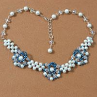 Pandahall Tutorial - How to Make a Blue Flower Pearl Bead Necklace