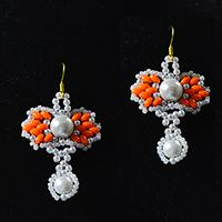 How to Make Heart Pearl and Orange 2-Hole Seed Beads Earrings for Girls