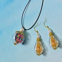 How to Make Easy Glass Bead Pendant Necklace and Earring Jewelry Set