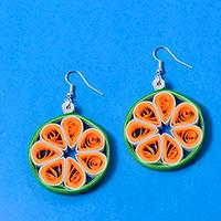 How to Make Simple Hoop Earrings with Orange Quilling Flower