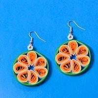 How to Make Simple Hoop Earrings with Orange Quilling Flower