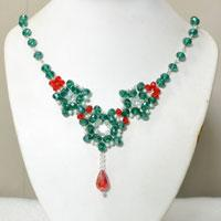 How to Make a Green and Red Glass Beaded Flower Statement Necklace with Crystal Drop