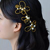 How to Make Easy Golden Wire Wrapped Hair Accessories with Pearl Beads