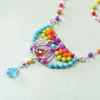 How to Make a Colored Acrylic Bead Necklace with Cord Braided Bead Pendant