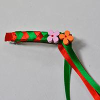 Making Red and Green Ribbon Braided Barrette with Wooden Flower Ornaments for Girls